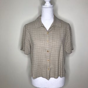 Eileen Fisher Plaid Button Down Shirt Oversized S